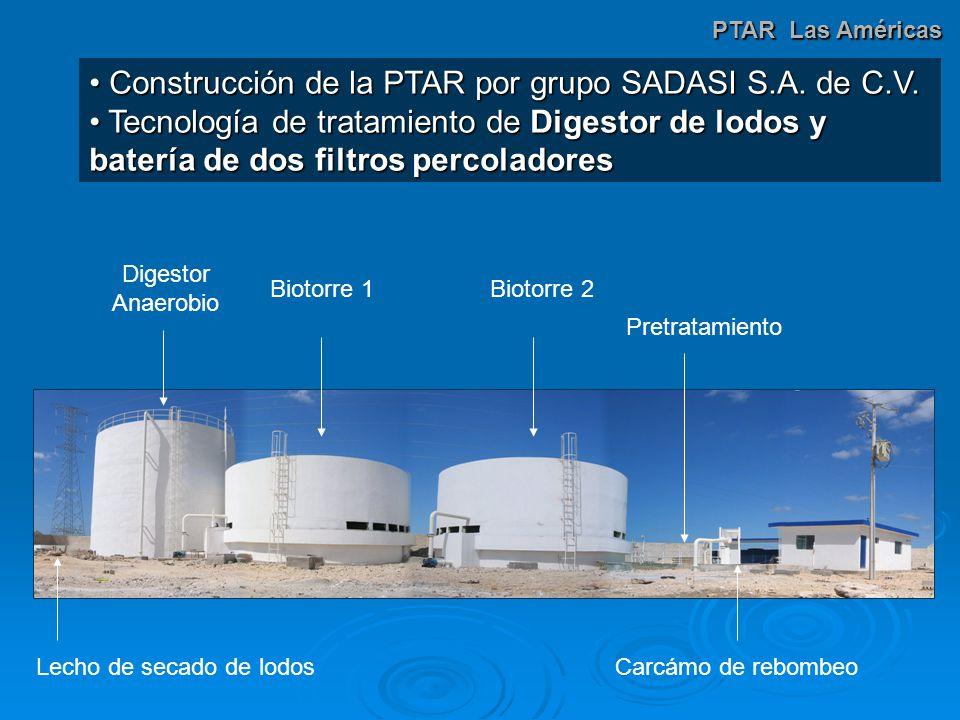 Construcción de la PTAR por grupo SADASI S.A. de C.V.