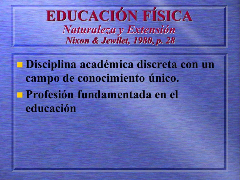 EDUCACIÓN FÍSICA Naturaleza y Extensión Nixon & Jewllet, 1980, p. 28