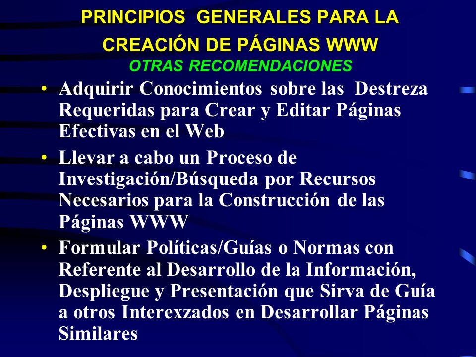 PRINCIPIOS GENERALES PARA LA CREACIÓN DE PÁGINAS WWW OTRAS RECOMENDACIONES