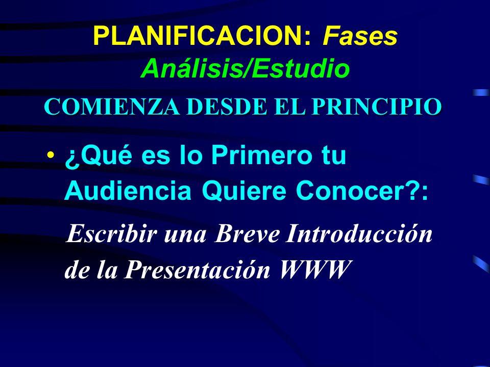 PLANIFICACION: Fases Análisis/Estudio