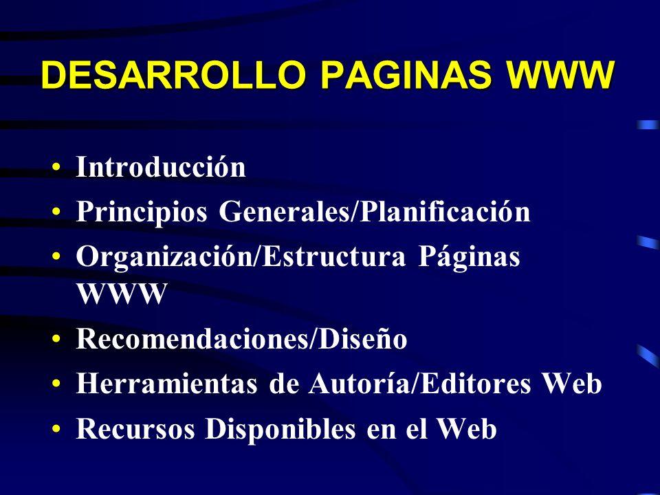 DESARROLLO PAGINAS WWW