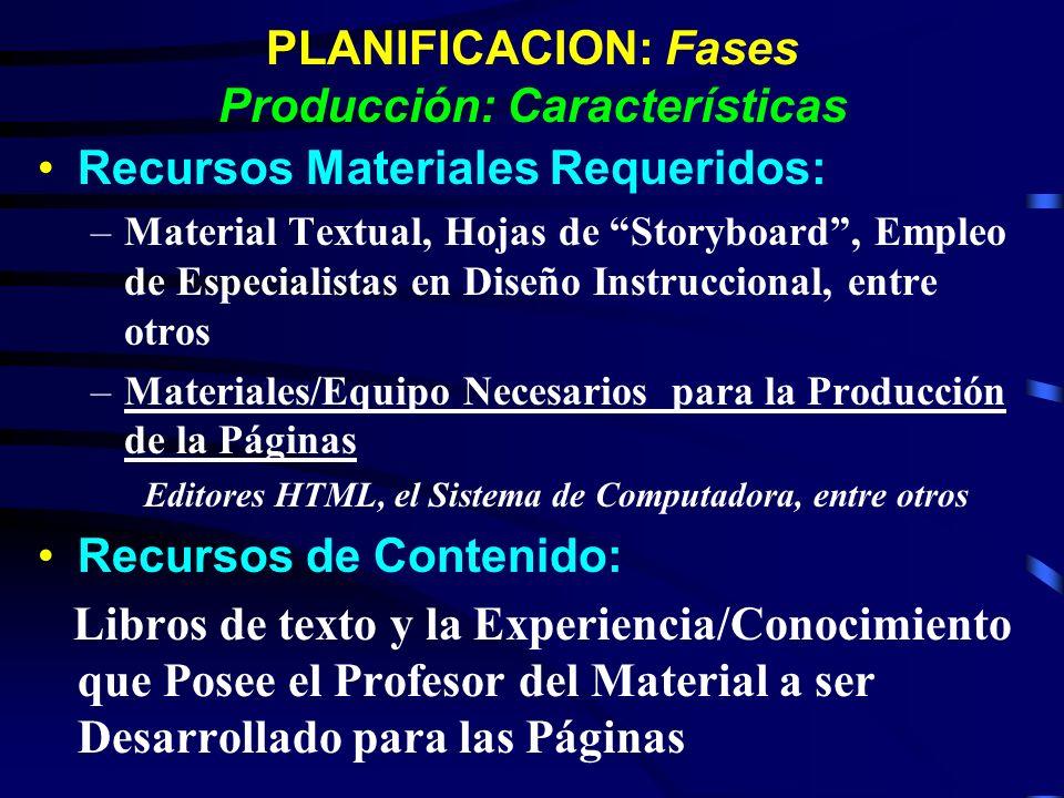 PLANIFICACION: Fases Producción: Características