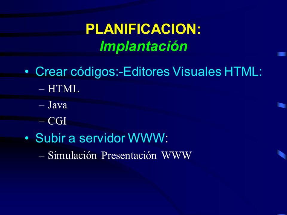 PLANIFICACION: Implantación