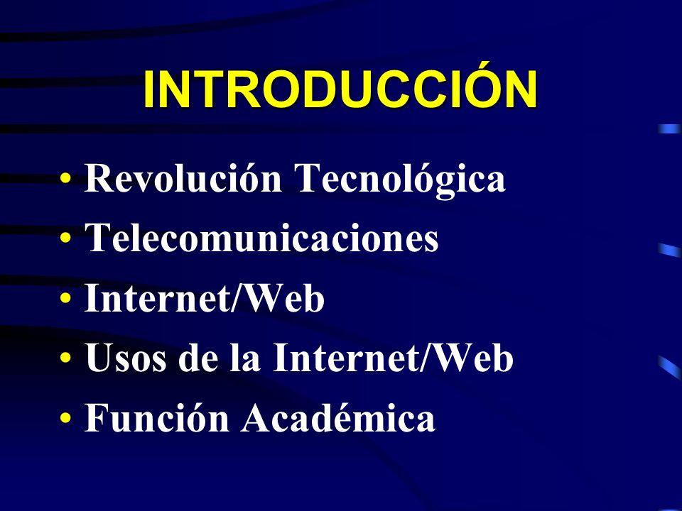 INTRODUCCIÓN Revolución Tecnológica Telecomunicaciones Internet/Web