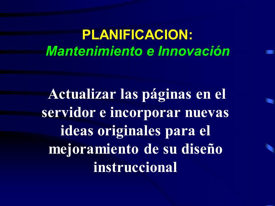 PLANIFICACION: Mantenimiento e Innovación