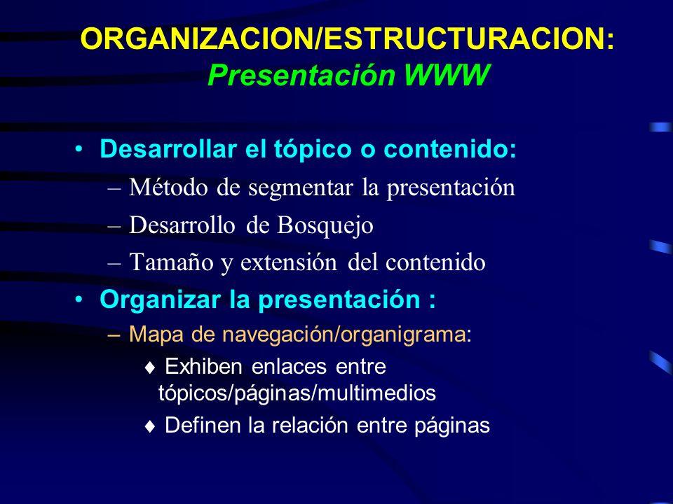 ORGANIZACION/ESTRUCTURACION: Presentación WWW