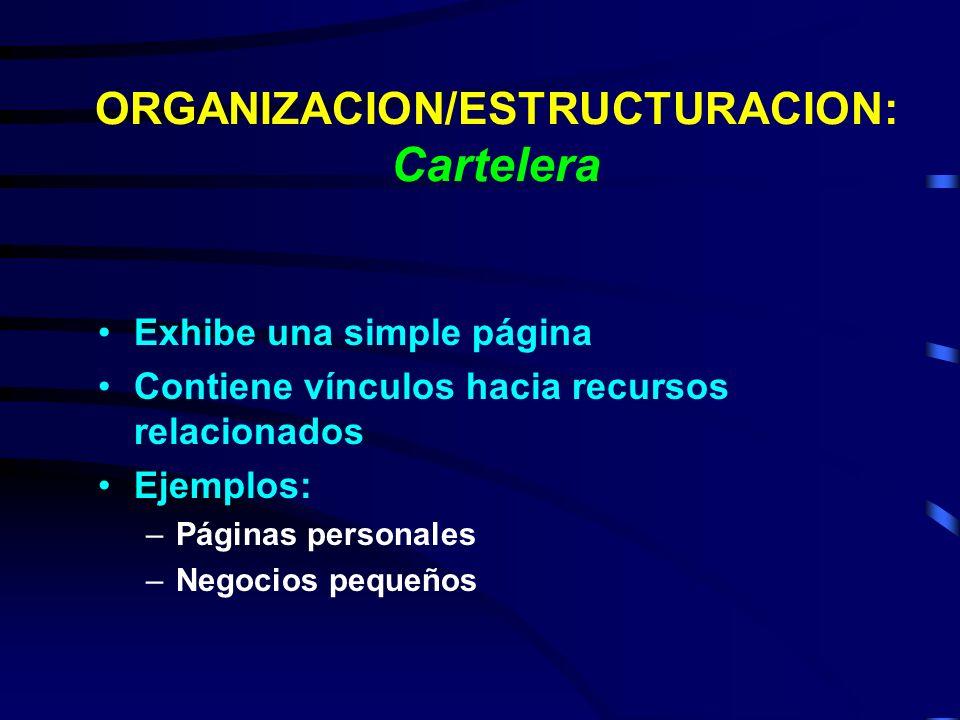 ORGANIZACION/ESTRUCTURACION: Cartelera
