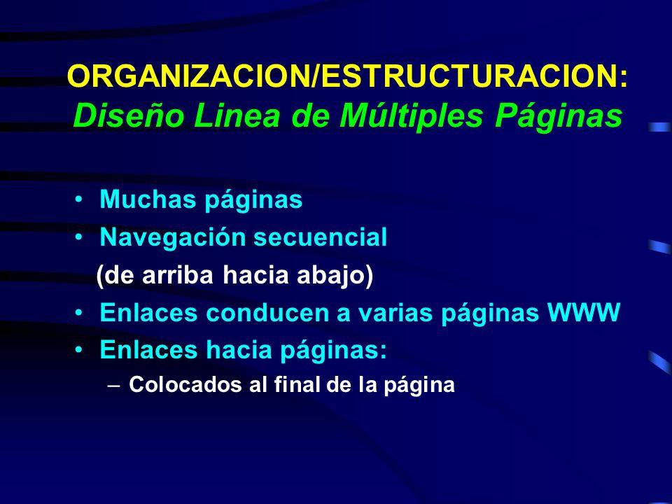 ORGANIZACION/ESTRUCTURACION: Diseño Linea de Múltiples Páginas