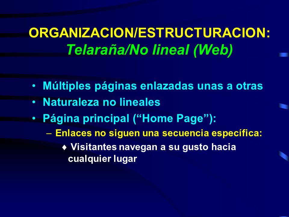 ORGANIZACION/ESTRUCTURACION: Telaraña/No lineal (Web)