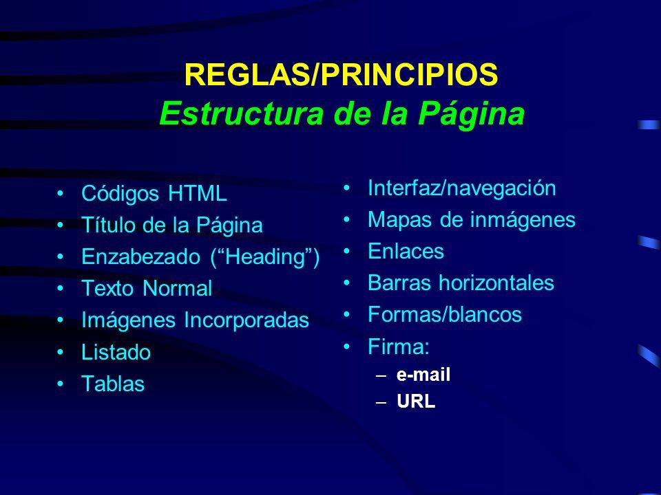 REGLAS/PRINCIPIOS Estructura de la Página