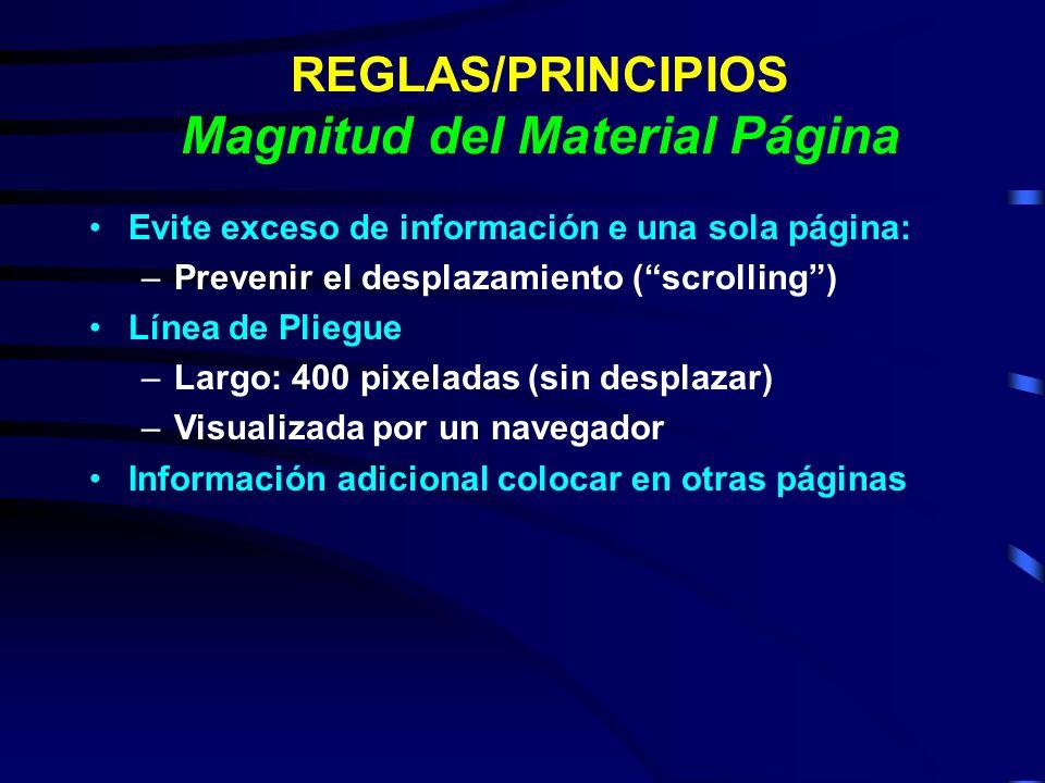 REGLAS/PRINCIPIOS Magnitud del Material Página