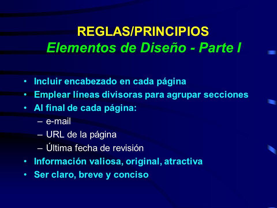 REGLAS/PRINCIPIOS Elementos de Diseño - Parte I