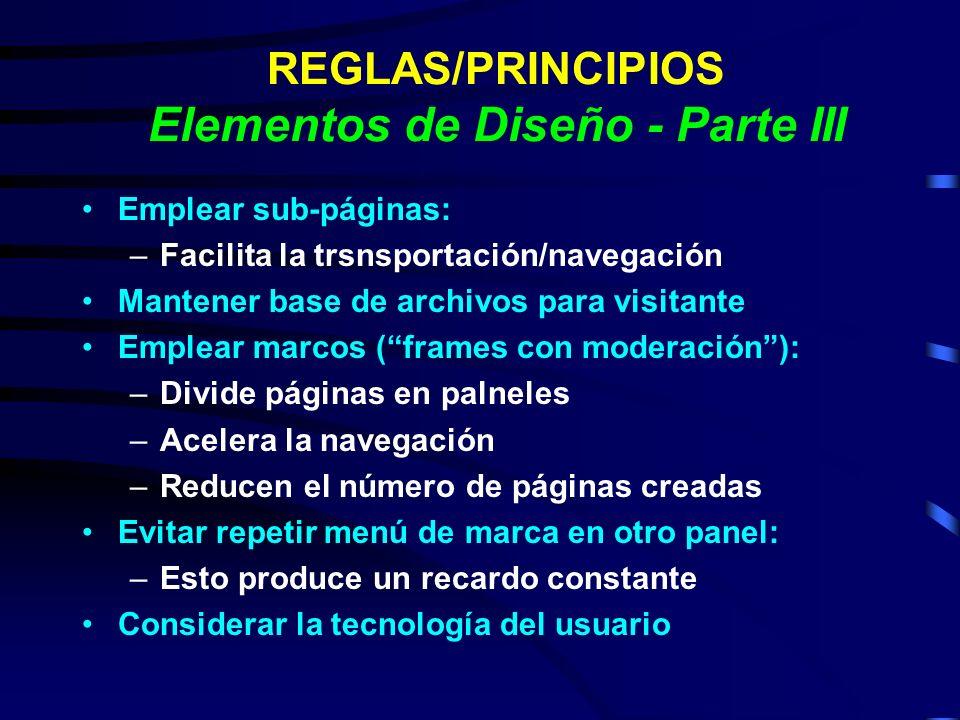 REGLAS/PRINCIPIOS Elementos de Diseño - Parte III