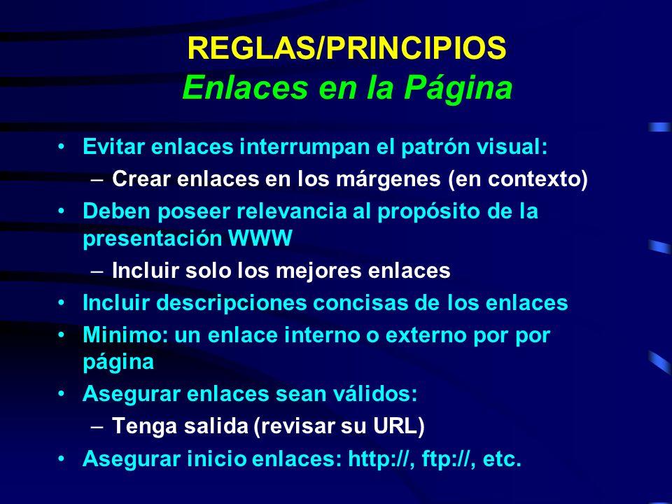 REGLAS/PRINCIPIOS Enlaces en la Página