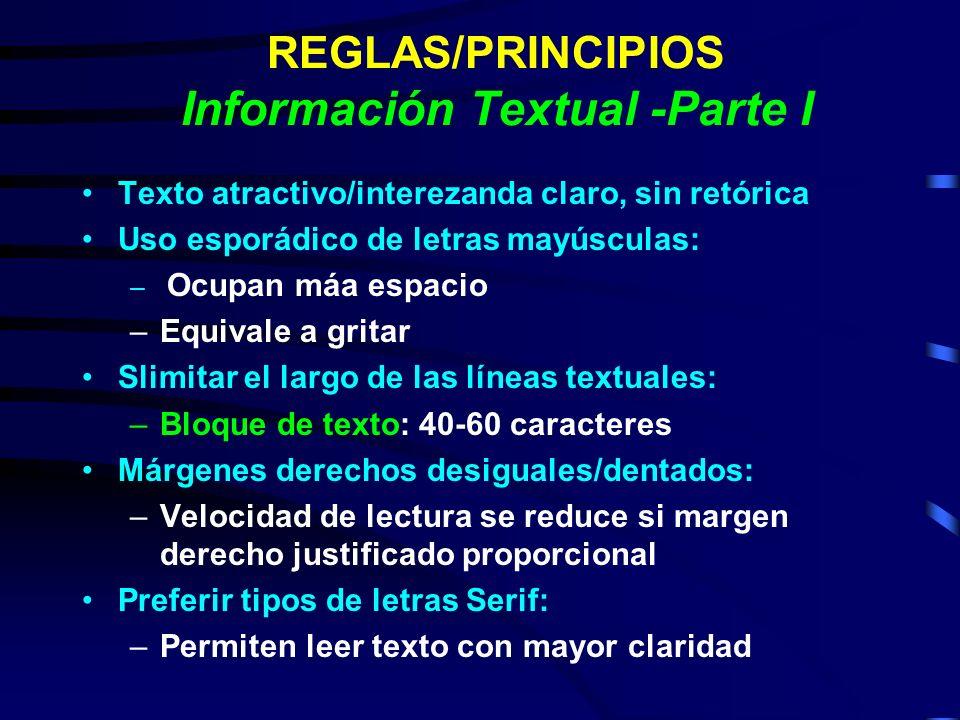 REGLAS/PRINCIPIOS Información Textual -Parte I