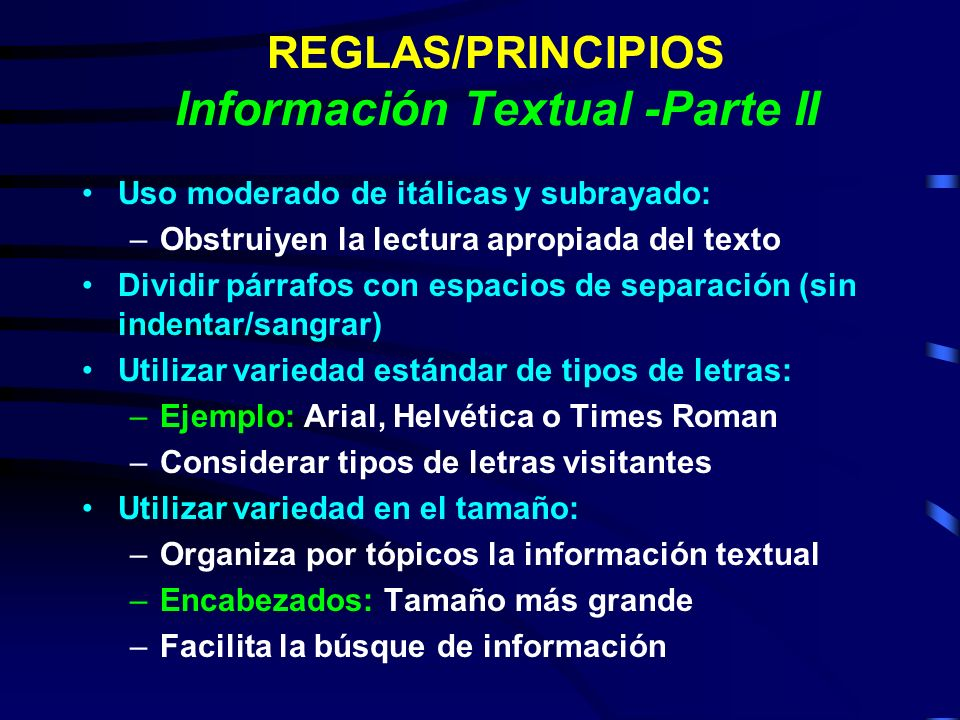 REGLAS/PRINCIPIOS Información Textual -Parte II