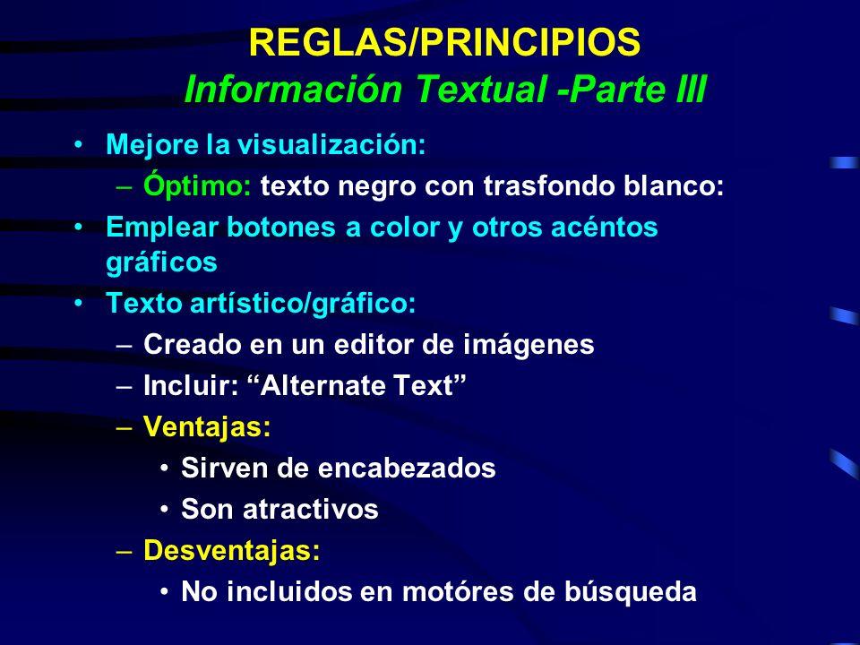 REGLAS/PRINCIPIOS Información Textual -Parte III