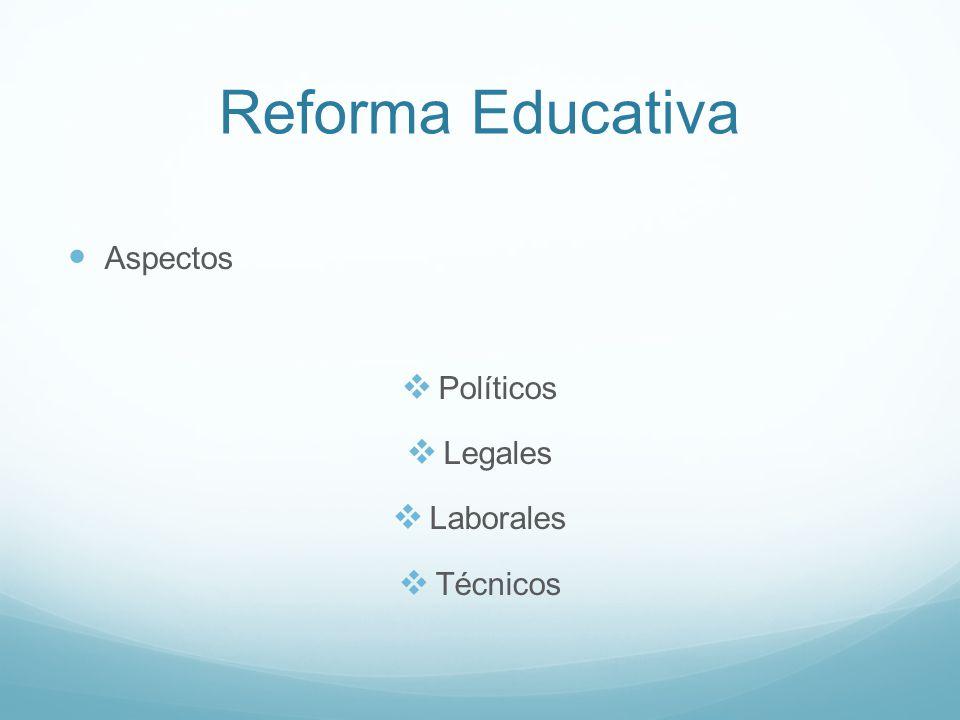 Reforma Educativa Aspectos Políticos Legales Laborales Técnicos
