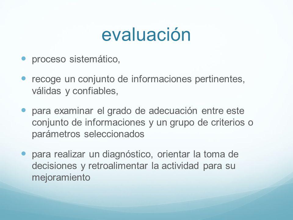 evaluación proceso sistemático,