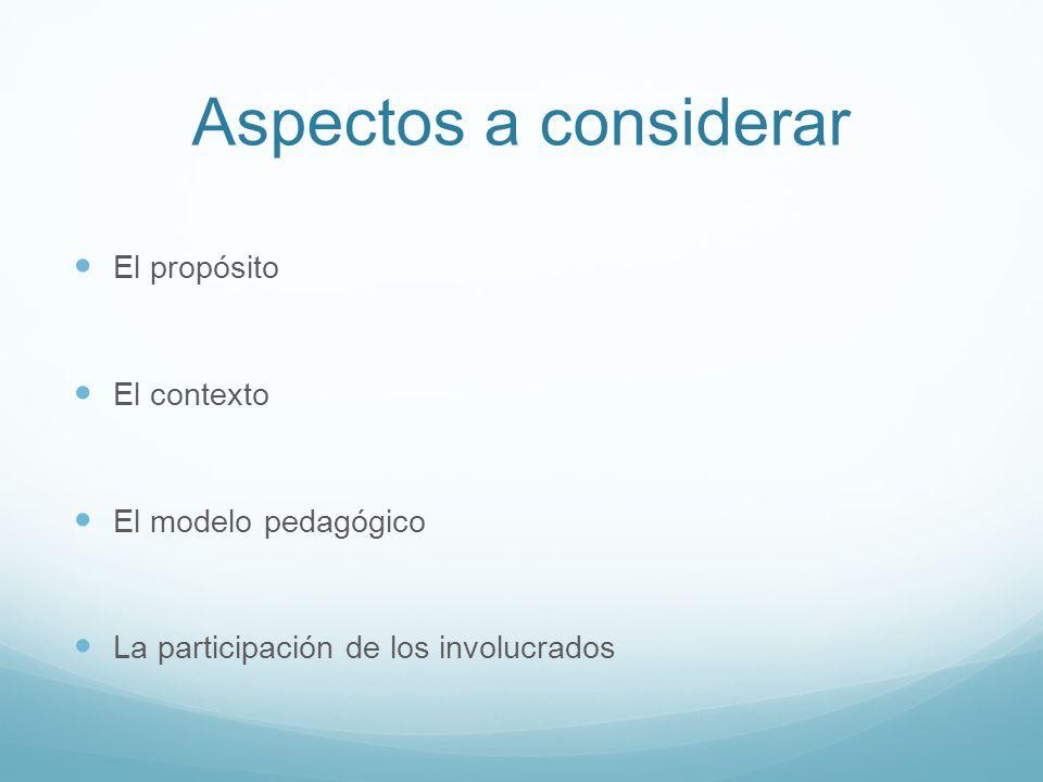 Aspectos a considerar El propósito El contexto El modelo pedagógico