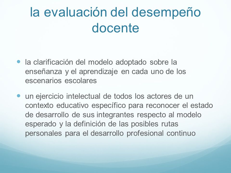 la evaluación del desempeño docente