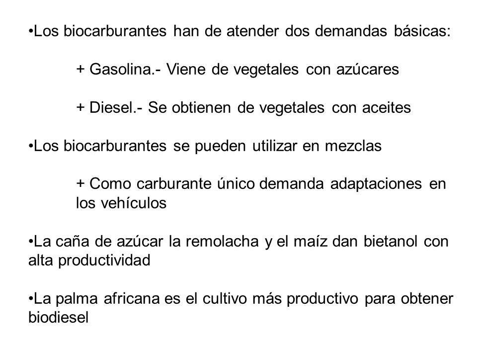 Los biocarburantes han de atender dos demandas básicas: