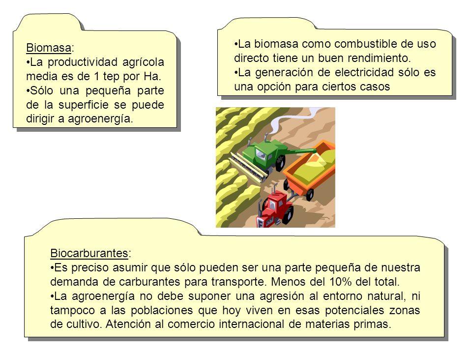 Biomasa: La productividad agrícola media es de 1 tep por Ha. Sólo una pequeña parte de la superficie se puede dirigir a agroenergía.