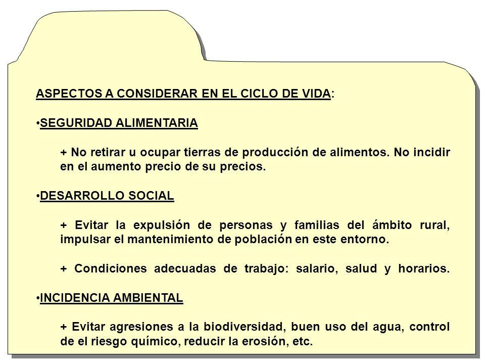 ASPECTOS A CONSIDERAR EN EL CICLO DE VIDA: