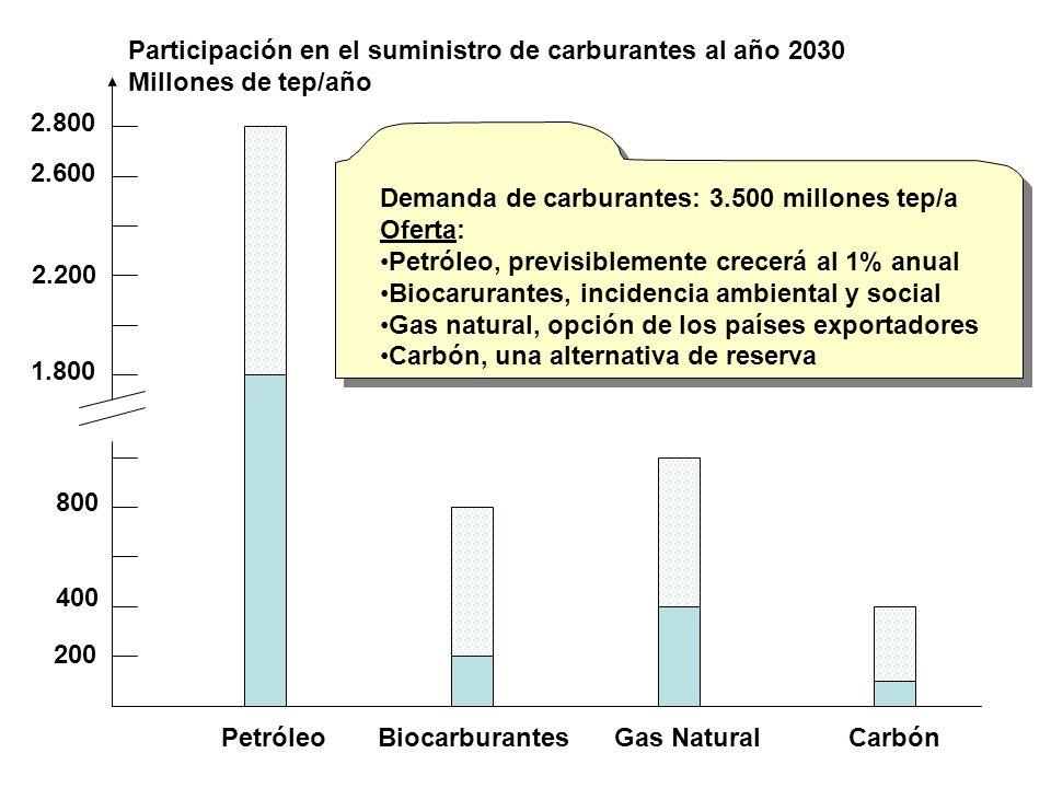 Participación en el suministro de carburantes al año 2030