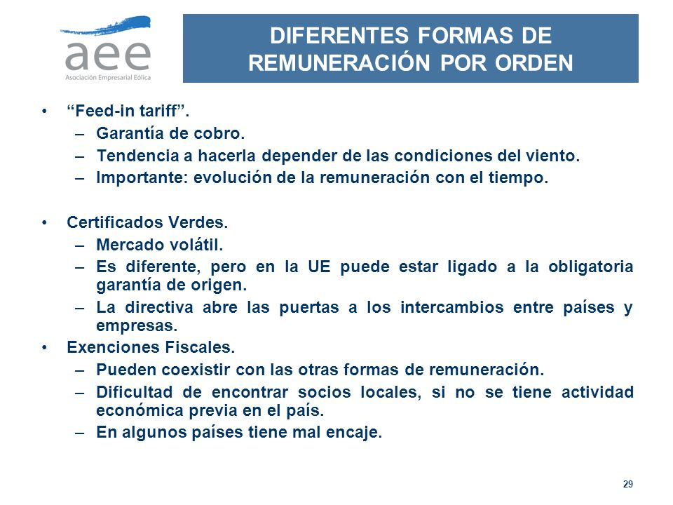 DIFERENTES FORMAS DE REMUNERACIÓN POR ORDEN