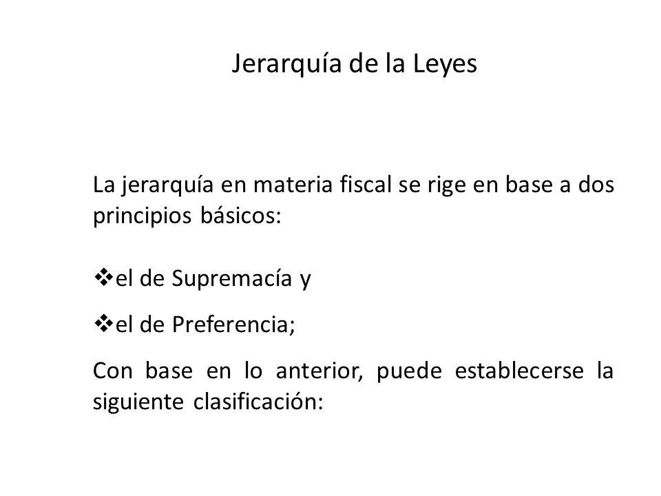Jerarquía de la Leyes La jerarquía en materia fiscal se rige en base a dos principios básicos: el de Supremacía y.