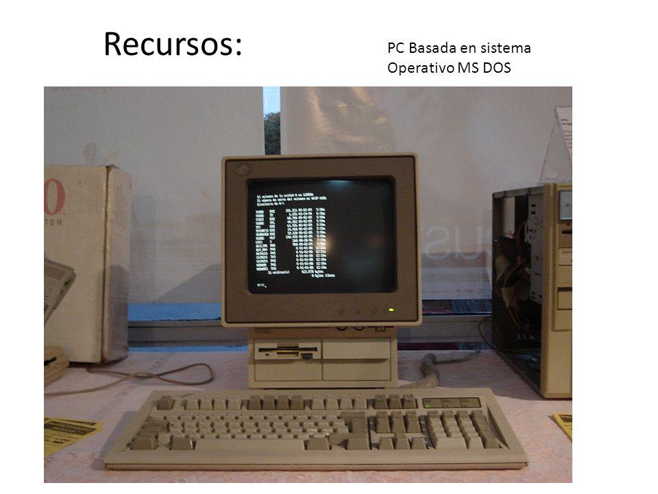 Recursos: PC Basada en sistema Operativo MS DOS