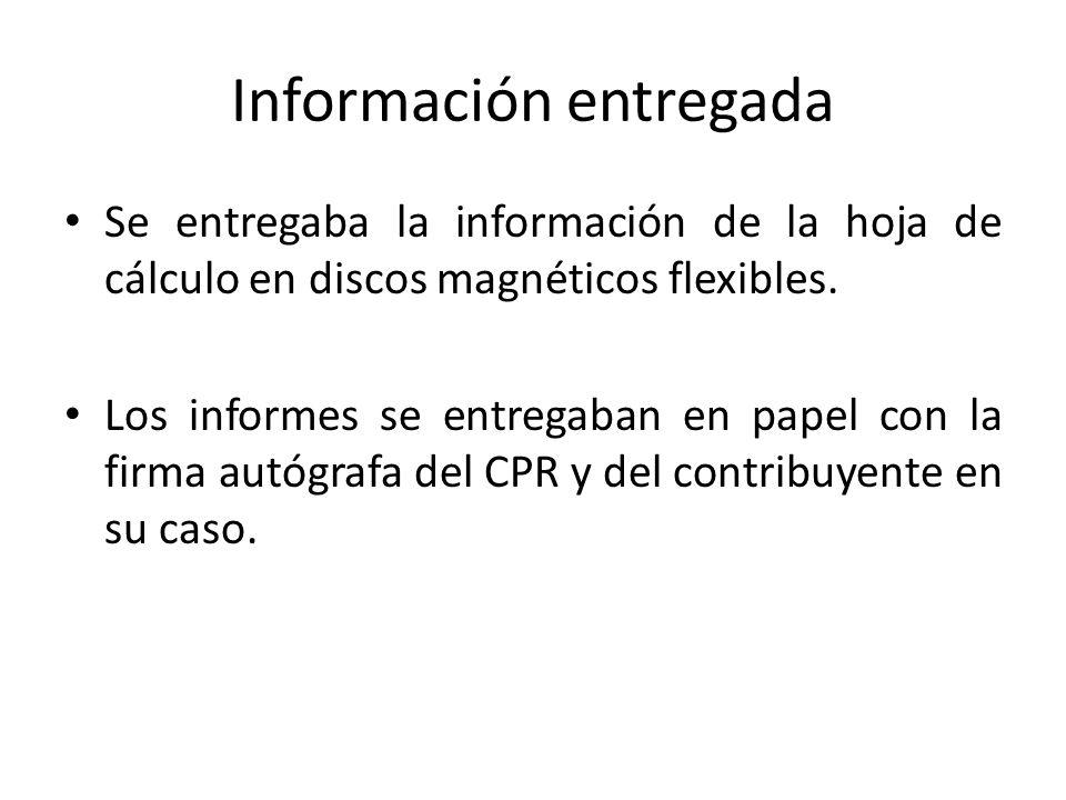 Información entregada