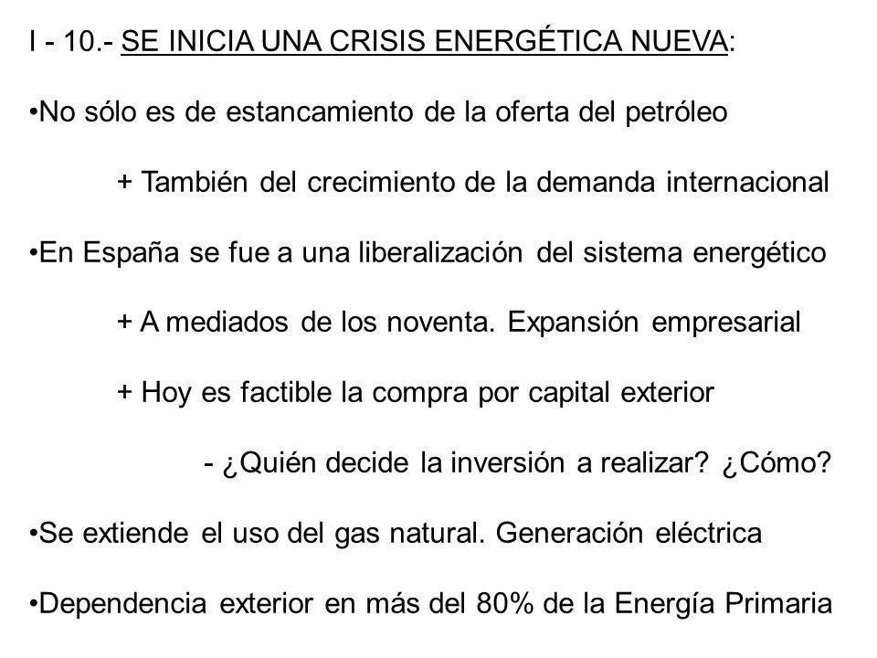 I - 10.- SE INICIA UNA CRISIS ENERGÉTICA NUEVA: