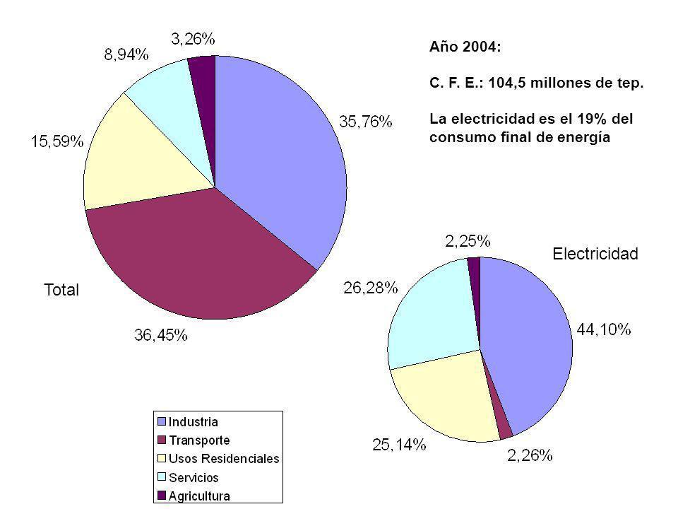 Electricidad Total Año 2004: C. F. E.: 104,5 millones de tep.