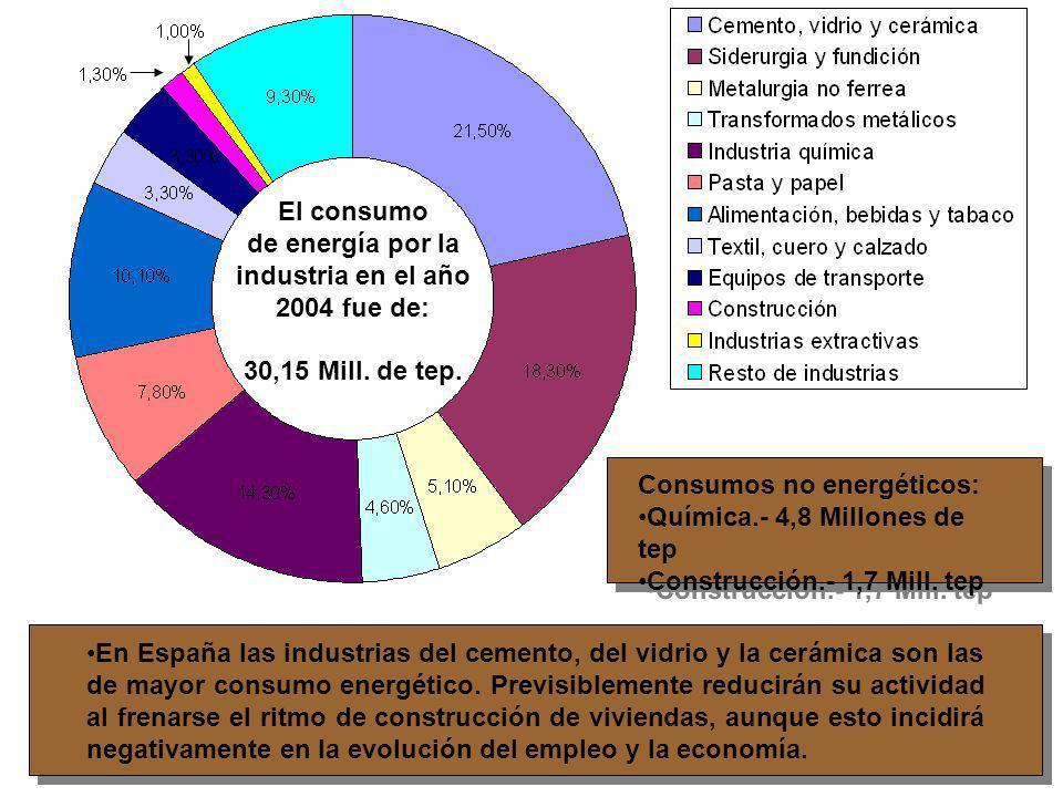 El consumo de energía por la. industria en el año. 2004 fue de: 30,15 Mill. de tep. Consumos no energéticos:
