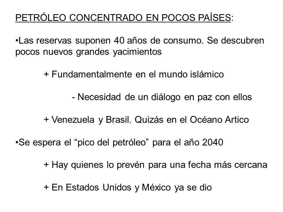 PETRÓLEO CONCENTRADO EN POCOS PAÍSES: