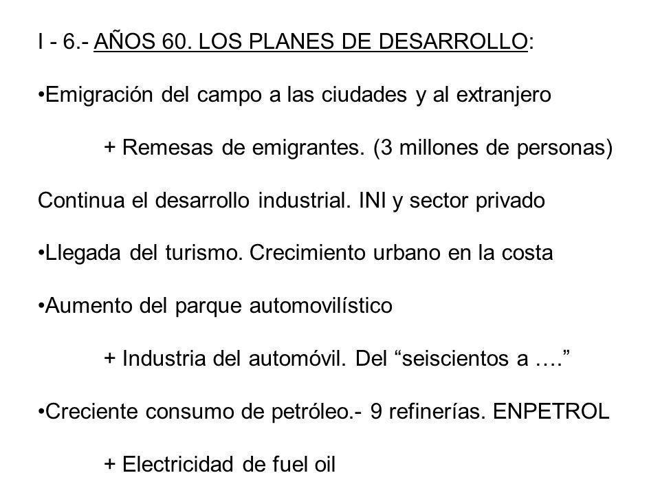 I - 6.- AÑOS 60. LOS PLANES DE DESARROLLO: