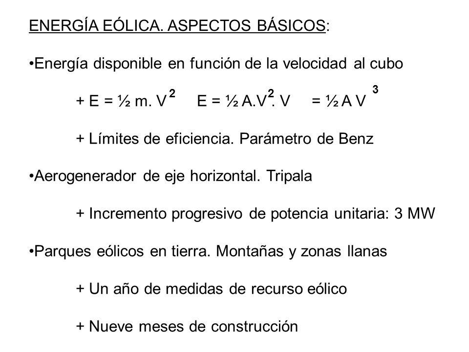 ENERGÍA EÓLICA. ASPECTOS BÁSICOS:
