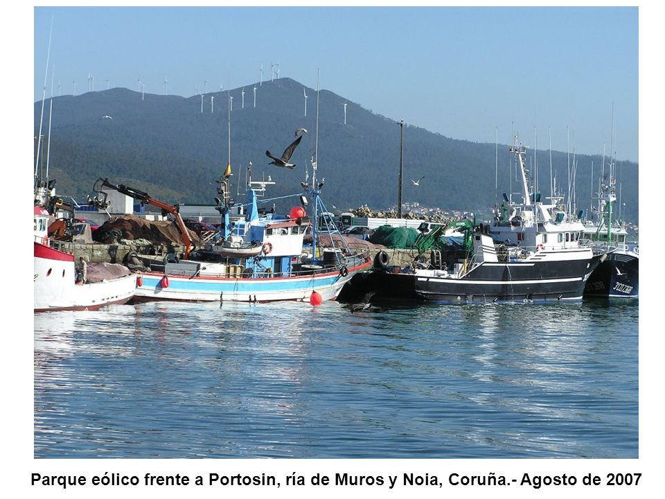 Parque eólico frente a Portosin, ría de Muros y Noia, Coruña