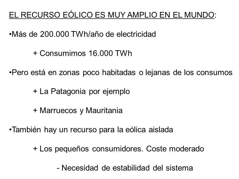 EL RECURSO EÓLICO ES MUY AMPLIO EN EL MUNDO: