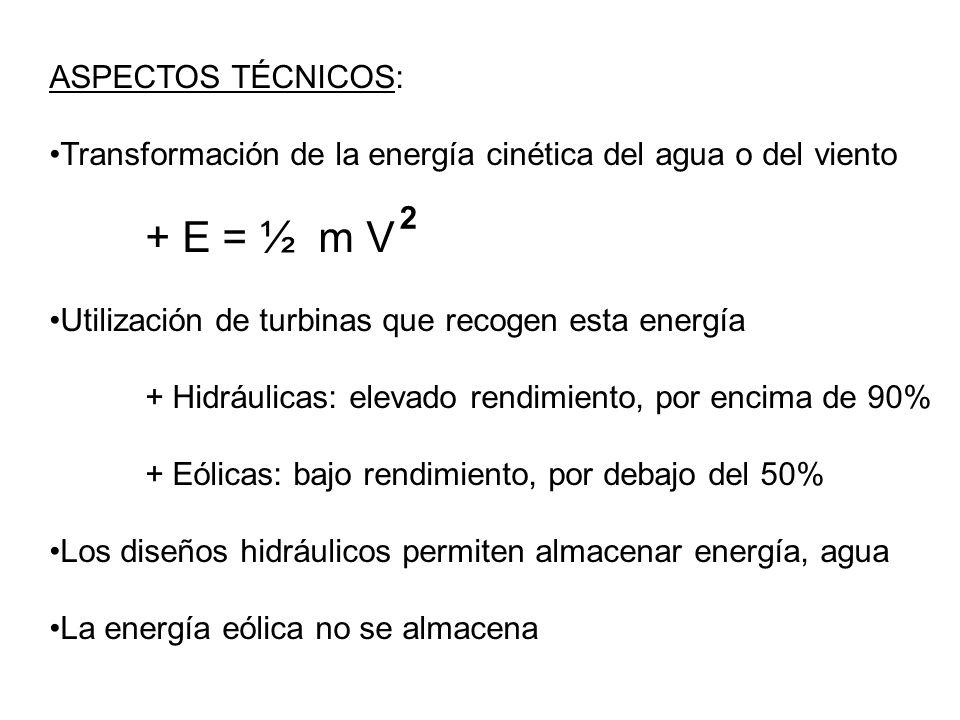 ASPECTOS TÉCNICOS: Transformación de la energía cinética del agua o del viento. + E = ½ m V. Utilización de turbinas que recogen esta energía.