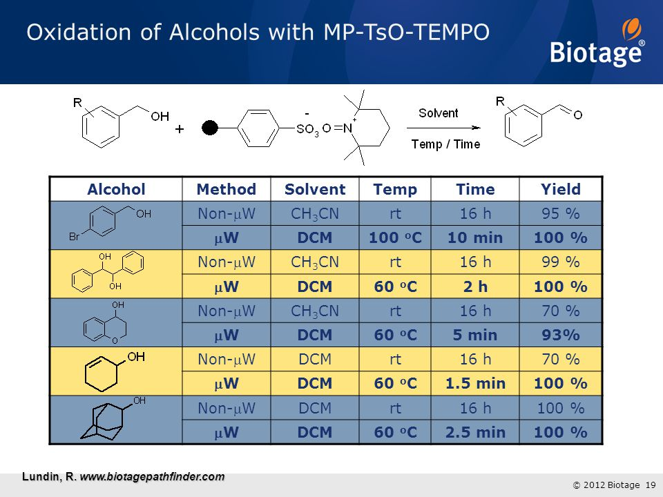 Oxidation of Alcohols with MP-TsO-TEMPO