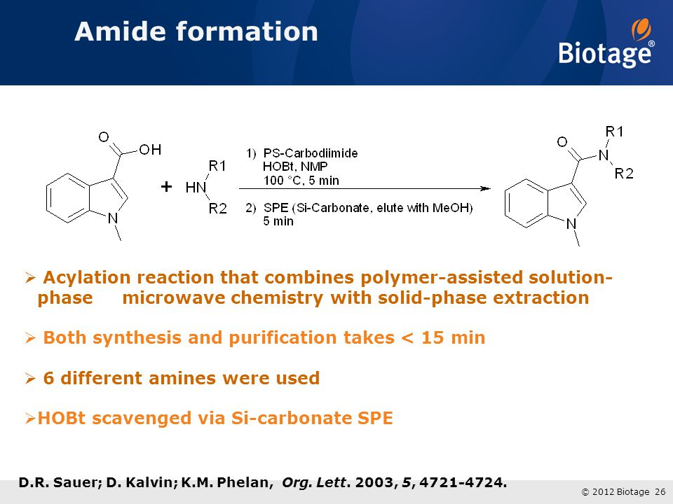 Amide formation Acylation reaction that combines polymer-assisted solution-phase microwave chemistry with solid-phase extraction.
