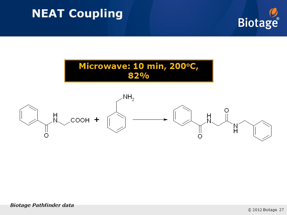 NEAT Coupling Microwave: 10 min, 200oC, 82% Biotage Pathfinder data