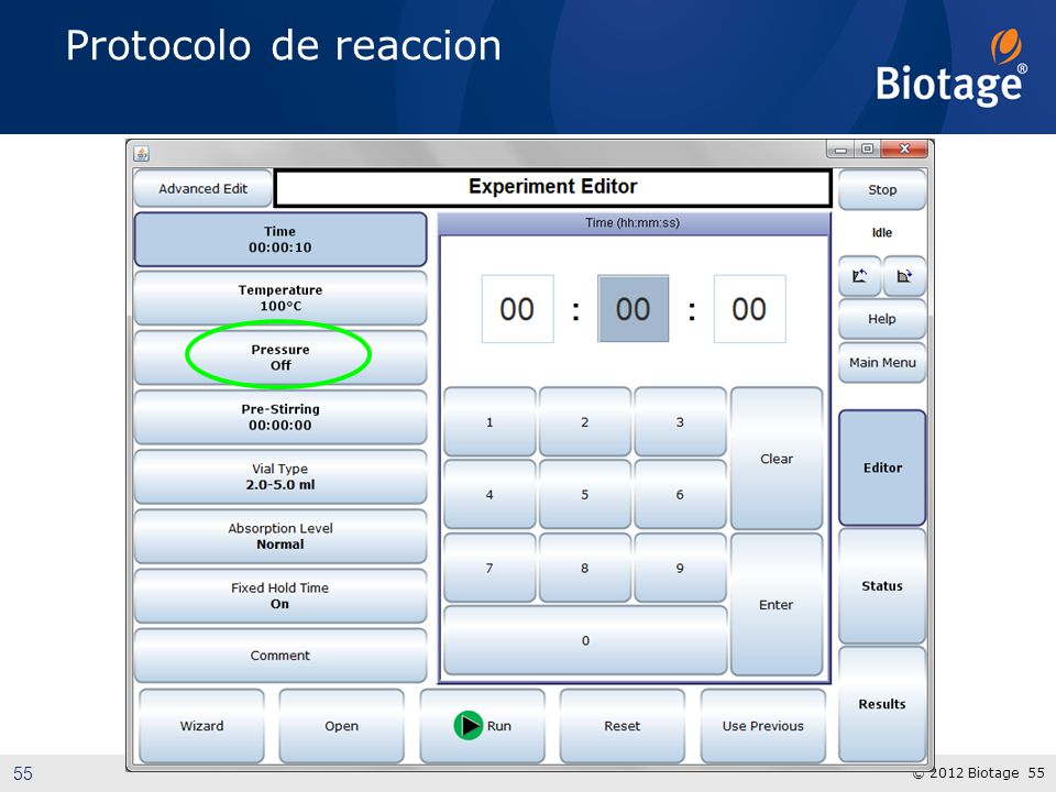 Protocolo de reaccion Highlight the ease of use software with all common parameters on first page.