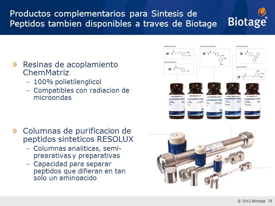 Productos complementarios para Sintesis de Peptidos tambien disponibles a traves de Biotage