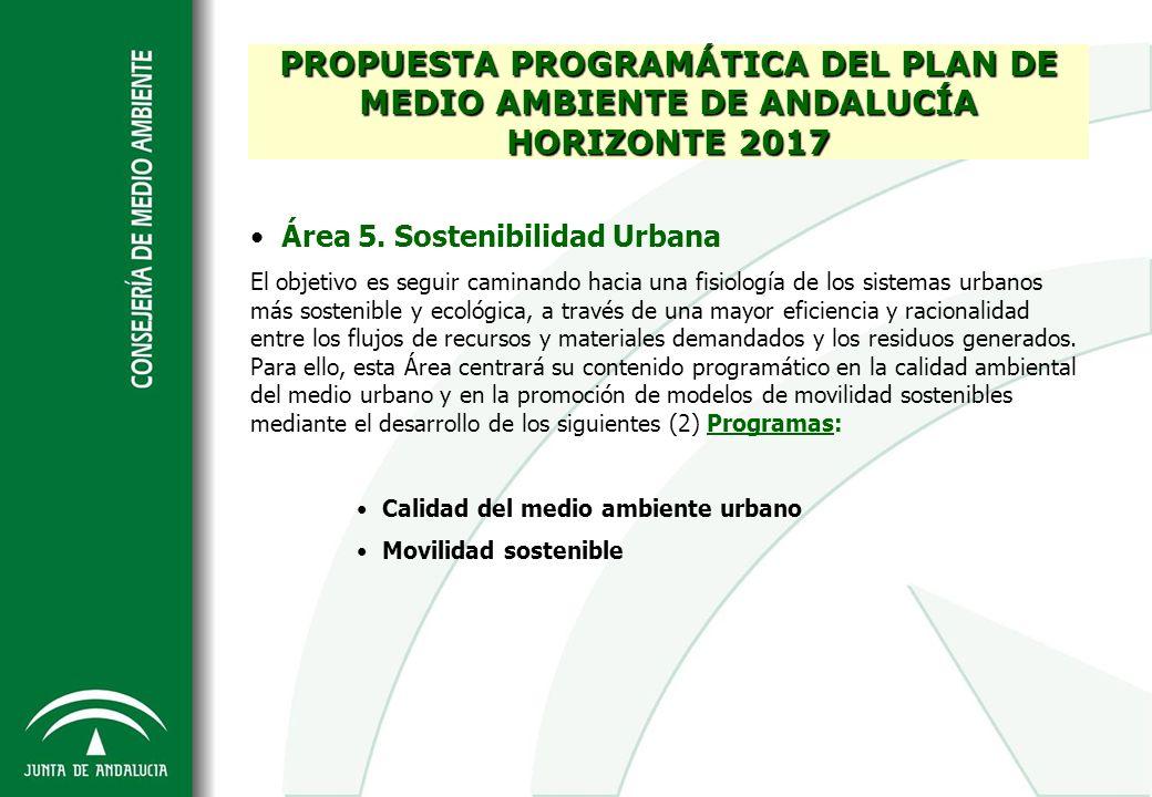 PROPUESTA PROGRAMÁTICA DEL PLAN DE MEDIO AMBIENTE DE ANDALUCÍA