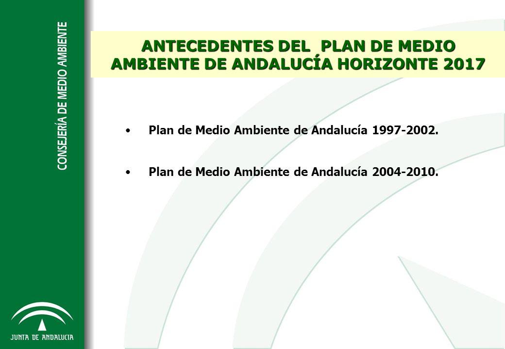 ANTECEDENTES DEL PLAN DE MEDIO AMBIENTE DE ANDALUCÍA HORIZONTE 2017