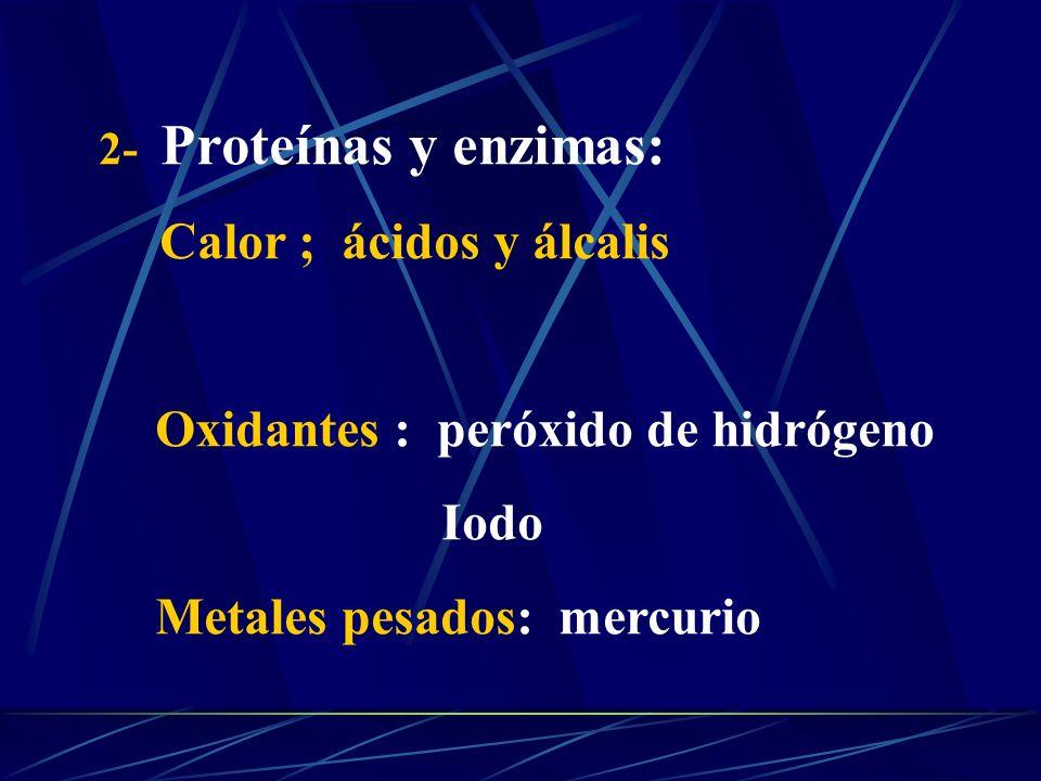 Oxidantes : peróxido de hidrógeno Iodo Metales pesados: mercurio